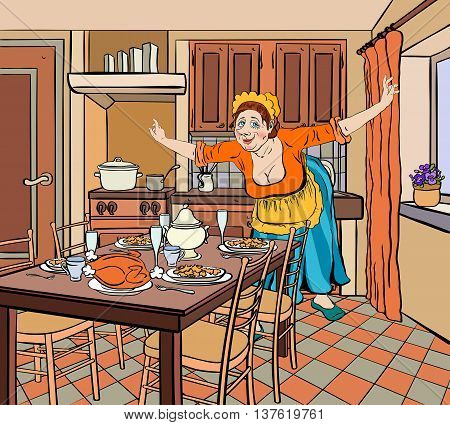 The hostess at the old clothes in the kitchen spread her arms to the side and smiling