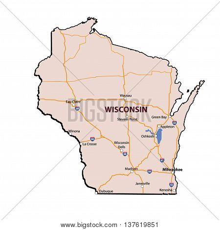 Vector Wisconsin State 3D Colour Map Cities and Major Roads