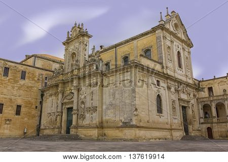 Cathedral of Lecce, the two baroque facades