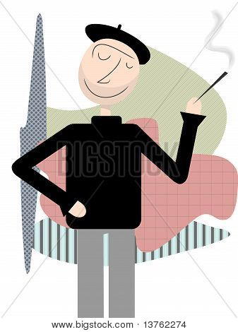 Happy Beatnik Stands Smoking Abstract Shapes Backdrop