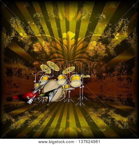 Vector illustration of a bright background music with rock guitars and drums. You can use any text or image on a black background.