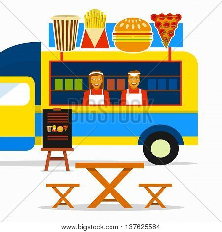 Food truck festival. Street food truck with sellers and seating areas.