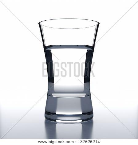 Vodka Glass with vodka shot. White background. Alcoholic cocktail glassware. 3D illustration.