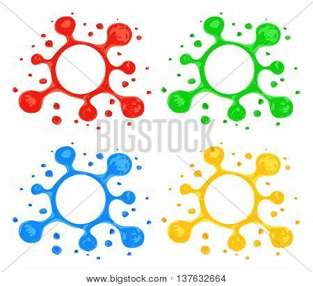 Stylized blots with splashes. Hand drawn by highlighter marker blots. Blot symbols in red green blue and yellow colors isolated on white background. Blot design elements. Vector in EPS10 format.