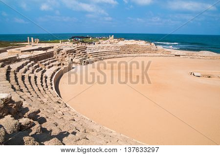 The Hippodrome at Caesarea, Israel with the Mediterranean Sea in the background.