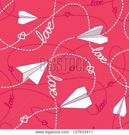 Vector seamless pattern with love words hearts tangled dashed lines and paper airplanes. Repeating romantic background. Love conceptual texture. EPS8 vector illustration includes Pattern Swatch.