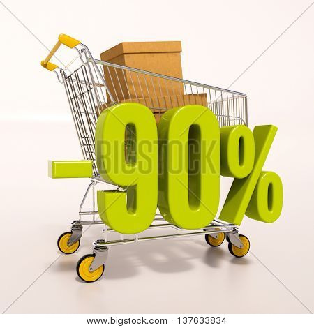 3d render: shopping cart and green 90 percentage discount sign on white