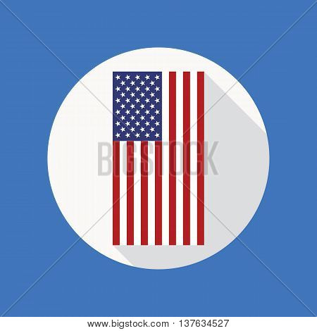 Vector icon of USA flag in flat style with long shadow. American national flag vector flat icon. Flat icon with star-spangled banner inside circle. Vector illustration in EPS8 format.