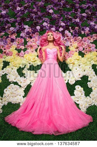 flowers, green grass, glade, barbie, pretty, shoot, edoitorial rose pink beautiful happy rose long and curly hair