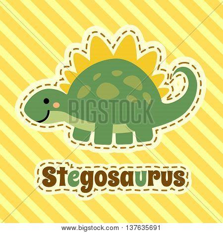 Cute cartoon smiling stegosaurus on striped yellow background. Art vector illustration.
