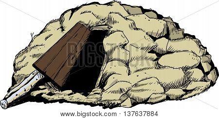 Hand drawn illustration of Sami goahti earth dwelling with open door