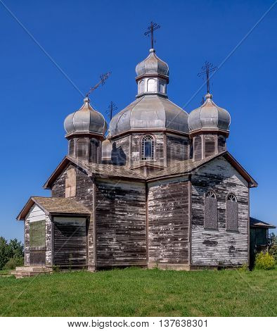 Abandoned and old Ukrainian Orthodox church on the prairies.