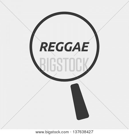 Isolated Magnifying Glass Icon Focusing    The Text Reggae