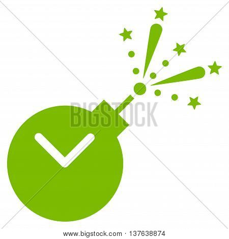 Time Fireworks Charge vector icon. Style is flat symbol, eco green color, rounded angles, white background.