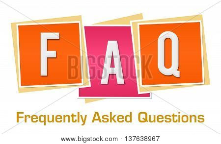 FAQ text alphabets written over pink orange background.