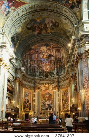 ROME, ITALY - MAY 12, 2012 - Interior of Jesuit church, nave and altar