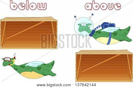 Cartoon Dragon Diver Floats Below The Box And Astronaut Flies Above The Box. English Grammar In Pict
