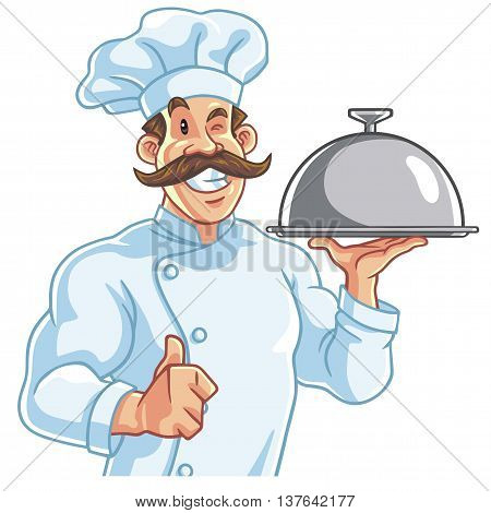 Healthy Fit Muscly Chef Serving Food Vector