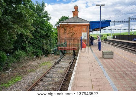 Cholsey/UK. 3rd July 2016. The bay platform of the Cholsey & Wallingford railway which provides heritage services to Wallingford.