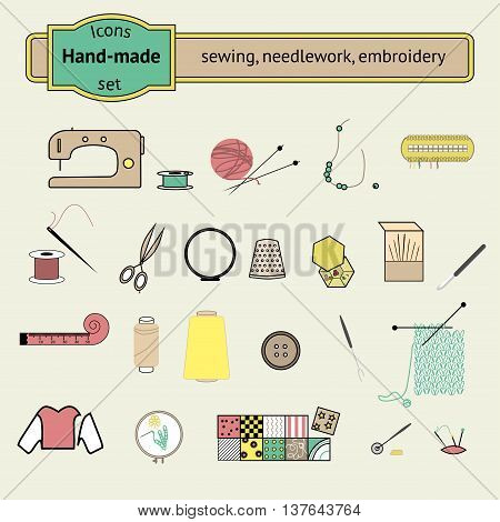 Knitting sewing and needlework line colorful icons collection. Knitting items sewing equipment and needlework elements