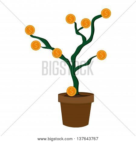 plantpot with coins money business concept , isolated vector illustration
