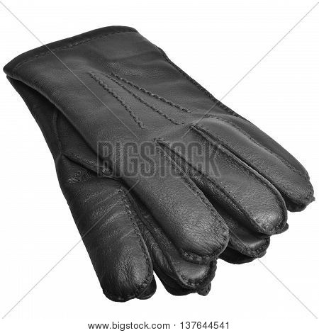 Black Men Deerskin Gloves Large Detailed Isolated Men's Fine Grain Deer Leather Glove Pair Macro Closeup Studio Shot Soft Textured Warm Winter Accessory Pattern Detail
