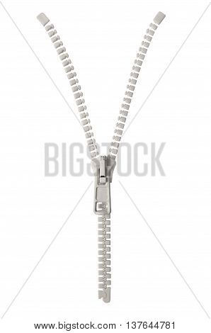 Open grey beige zipper pull concept unzip metaphor isolated macro closeup detail large detailed partially opened half zippered blank empty copy space unzipped background vertical studio shot