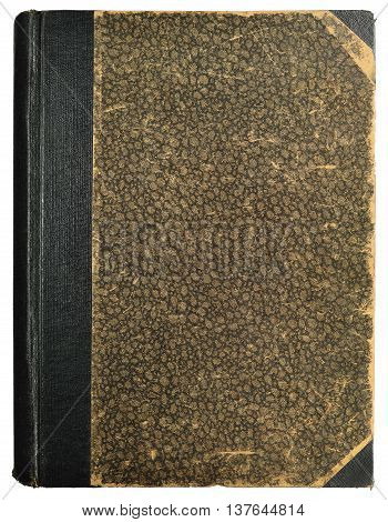 Grunge Vintage Book Hard Cover Blank Empty Antique Ornamental Textured Abstract Background Pattern Old Aged Vertical Stained Texture Beige Brown Black Sepia Isolated Half Binding Linen Cloth Spine Retro Pastepaper Sides Paper Bound Heritage Metaphor