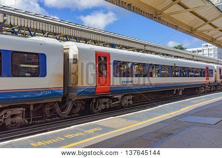 Basingstoke/UK. 3rd July 2016. A class 444 Desiro service at Basingstoke station ready to depart for London Waterloo.