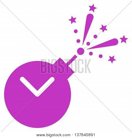 Time Fireworks Charge vector icon. Style is flat symbol, violet color, rounded angles, white background.