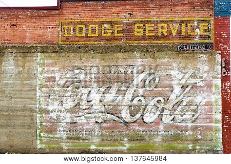 Weathered Brick Wall In Red Lodge, Montana