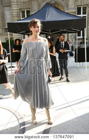 PARIS, FRANCE - JULY 06: Milla Jovovitch attends the Valentino Haute Couture Fall/Winter 2016-2017 show as part of Paris Fashion Week. Outside arrivals.