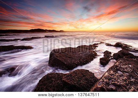 Kidds Beach sunrise over the sea East London - South Africa