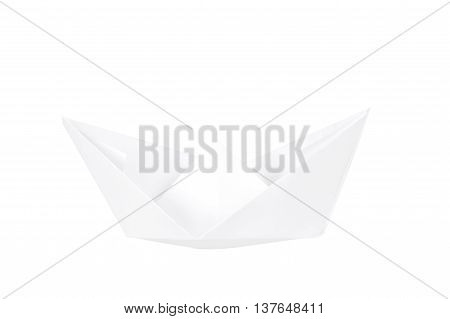 Paper boat isolated on white background. Paper fold boat.