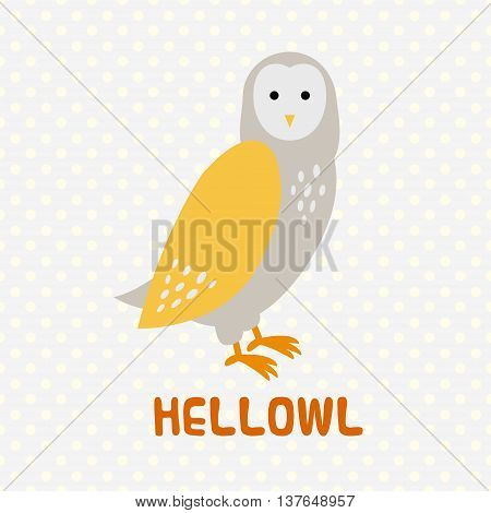 Greeting card with cute cartoon owl. Art vector illustration
