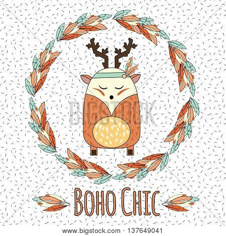 Boho deer and feather wreath in hand drawn style. Tribal, ethnic boho chic inspirational vector illustration
