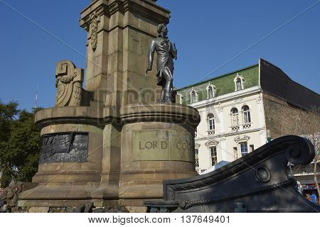 VALPARAISO, CHILE - JULY 5, 2016: Monument to Lord Cochrane in Valparaiso, Chile. Lord Cochrane was an Admiral in the British Royal Navy before becoming head of the Chilean Navy during Chile's war of independence against Spain.