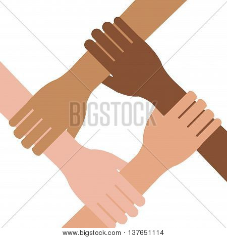 Multi ethnic hands teamwork unity isolated vector illustration