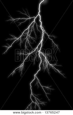Lightening Bolt On Black Background.