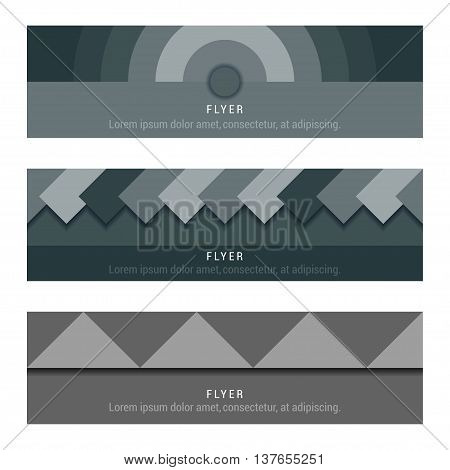 Vector set card and banners in style material design on white background - Stock Vector
