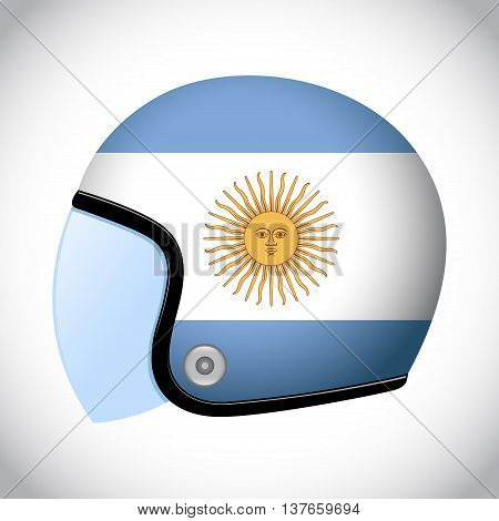 Vector stock of retro classic motorcycle helmet with Argentina flag