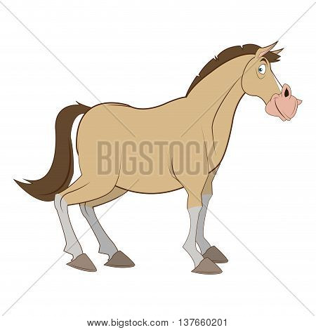 simple flat design horse cartoon icon vector illustration