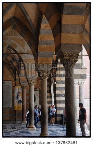 Amalfi, Salerno - Rib Vaults in the Ancient Cathedral of Amalfi in Italy - The building is a Norman Arabic style church builded from IXth Century - May 2016