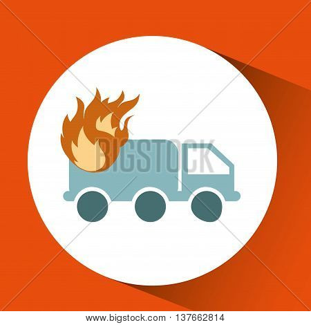 ensure protection insurance risk truck isolated, vector illustration
