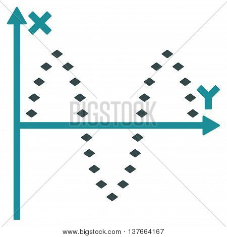 Dotted Sinusoid Plot vector toolbar icon. Style is bicolor flat icon symbol, soft blue colors, white background, rhombus dots.