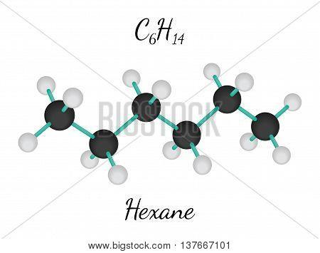 C6H14 Hexane 3d molecule isolated on white