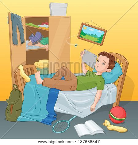 Lazy young boy lying on bed with tablet. Cartoon vector illustration.