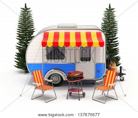 RV camper trailer with camping equipment on white background - 3D illustration