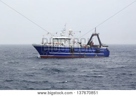 The Bering Sea Russia - Jun 18th 2016: The Bering Sea fishing seiner VLADIMIR STARZHINSKY fishes.