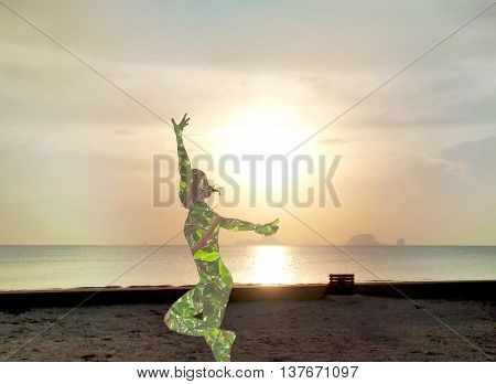double exposure image of nature living concept or ecofriendly - silhouette of happy people on the beach with sunset sea and sky background in filter effect